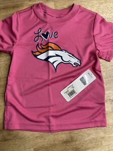 NFL Team Apparel Toddler  Pink Love Denver Broncos Football Shirt New 3T