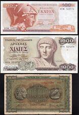 GRECE 3 Billets,période 1944-87,Pick 125b(1OOOOO Drachmes),200,202 / Lot 45