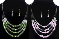 Multi-Strand Czech Crystal Silver Shell Statement Necklace Earrings Green Pink
