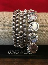 NWT UNO de 50 Pul1604 Leather And Sterling Silver Plated Beads Bracelet $200