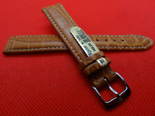 New Mens Di-Modell Tan Padded Genuine Alligator 18mm Watch Band Silver Buckle