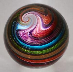 "Wald glass hand made marble aventurine Lutz contemporary Sphere 2.96"""