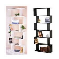 S Shape Storage Display Unit Wood Bookcase Bookshelf Shelves Home Furniture