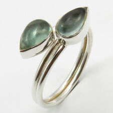 9 mm 3.4 Grams Solid Sterling Silver Cabochon Apatite Ring # 8.25 Face Width