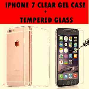 New Transparent Clear Gel Case  & Tempered Glass Screen Protector for iPhone 7