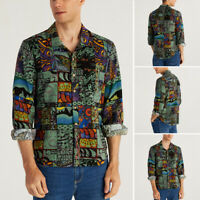Mens Long Sleeve Floral Dress Shirts Hawaiian Aloha Beach Party Blouse Tee Tops