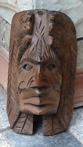 ANTIQUE MAYAN WOOD CARVED TRIBAL MASK MAN FACE WITH 2 QUETZALS