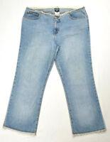 XOXO Women Juniors Size 11/12 Straight Jeans Capri Low Rise Frayed Waist and Hem