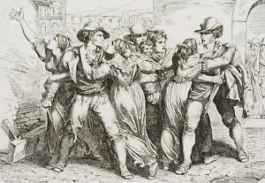 B.PINELLI (1781-1835), 'Rissa Romanesca', Straßenszene mit Streitenden,  1819, R
