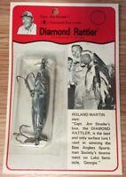 """Vintage Diamond Rattler Jim Strader Fishing Lure 3"""" Inch Gray & White **NOS**"""