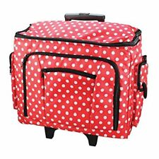 NEW BIRCH RED WHITE POLKA DOTS SEWING TROLLEY BAG WITH PULL UP HANDLE