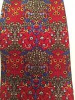 Metropolitan Museum Of Art 100% Silk Tie Floral Pattern In Red With Yellow