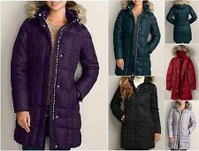 +14  NWT Eddie Bauer Womens Lodge Down Parka Coat 650 FP Faux Fur Hood 4 Colors