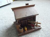 "Vintage Handmade Wood Cottage Bank Music Box 4"" Tall"
