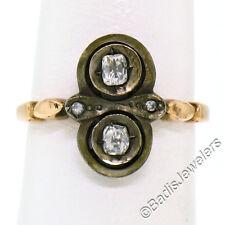 Antique Georgian 14K Rose Gold & Sterling Silver Top .30ct Rose Cut Diamond Ring