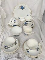 Vintage Princess Tea Set For Six ~ Blue Roses Trios,Jug, Bowl, Cake Plate
