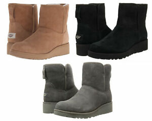 NEW UGG Kristin Classic Slim Wedge Suede Shearling Boots Gray Black Chestnut