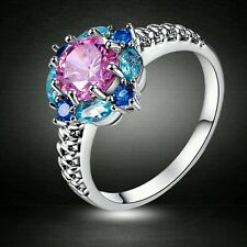 BEAUTIFUL PINK AND BLUE CLUSTER RING IN SILVER PLATE
