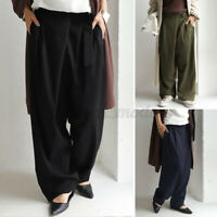Women Wide Legged Trousers Belted Solid Cotton Loose Baggy Chino Pants Plus Size