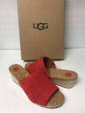 Ugg Women's Danes Wedge  Suede Sandal Size 10 Color Red /tngo