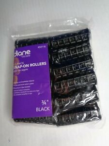 Diane Snap-On Rollers - Black - 3/4 Inch - 12 Rollers Per Bag - NEW Sealed