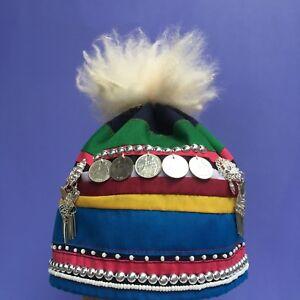 Akha hat Thai hill tribe ethnic wool handmade metal tassel coin clothes children