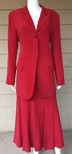 Due Per Due Womens Silk A Line Skirt Blazer Suit Sz 12 Red