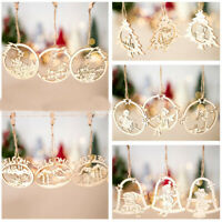 3Pcs Hollow Out Wooden Ornaments Angel Snowman Christmas Tree Hanging Decor