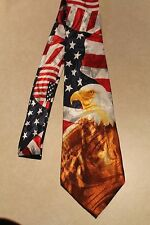 American Flags And A Bald Eagle New Poly New Neck Tie! #1  Harris 58'' L 3.8'