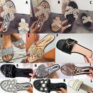 Flat Diamante Sandals Summer Womens Slides Sliders Slip On Mules Pearls Party UK