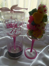 Clearance 18th Birthday Girl wine glass comes in a box & 150gr.soy melts candles