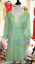 DIANE VON FURSTENBERG Green/Blue Sheer Dress/Coverup Sz M $255 EUC