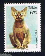 ITALIA 1 FRANCOBOLLO ANIMALI GATTO DEVON REX 1993 nuovo**