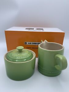 """Le Creuset """"Palm"""" Green Cafe Covered Sugar and Creamer Stoneware Set New in Box"""