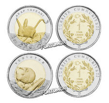 TURKEY 2016 SET 2 PCS UNC JERBOA / DORMOUSE 1 LIRA COMMEMORATIVE BIMETAL