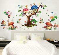 Wall Sticker Fairy Elf Mushroom House Tree Decal For Kids Nursery Baby Room Girl