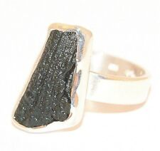 Moldavite Ring - Rough Cut - Polished Sterling Silver - MOLDR16A10