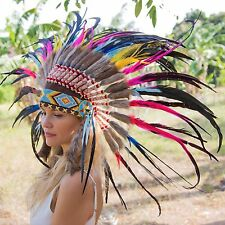 INDIAN HEADDRESS Chief War bonnet Costume Native American Halloween Kids Feather