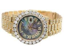 18K Yellow Gold Rolex President 18238 Day-Date Tahitian Diamond Watch 17.75 Ct