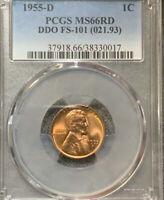 1955-D FS-101 DDO MS66 RD Red PCGS GEM Lincoln Cent Bright and Lustrous Rare