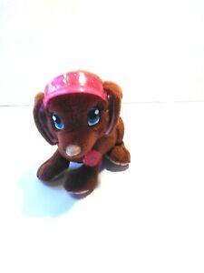"""Barbie Brown Dog Barking Panting Sound Pink Visor Sewn Eyes Plush Mini 5"""""""