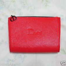 CD Dior Beauty Hard Faux Leather Cosmetic Makeup Bag Pouch Clutch Trousse Red