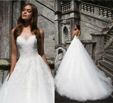 White/ivory Strapless Lace applique Wedding dress Formal Ball Gown Custom Size