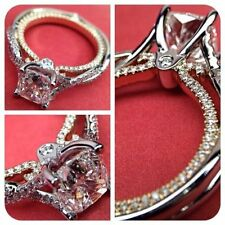Vintage Antique 2.0CT VVS1 Diamond Engagement Ring in 14K White Gold Over Size 7