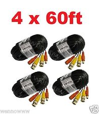 4 X 60ft(20m) BNC Video Power Siamese Cable for CCTV Surveillance Camera DVR Kit