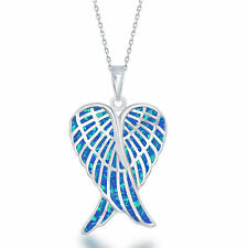 """Sterling Silver Created Blue Opal Double Angel Wings Pendant on an 18"""" Chain"""