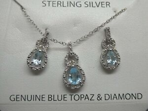 NEW Aquamarine Gemstone & Diamond Sterling Silver 925 Necklace & Earring Set