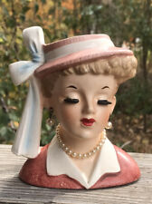 Vintage Napco 1958 Lady Head Vase Planter C3342B I Love Lucy Lucille Ball ~ Pink