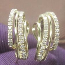 Solid 14k 585 Yellow Gold Natural Diamond Fashion Party Fine Earring