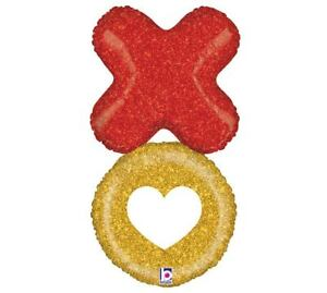 """XOXO Heart Glittery Gold Red Large 36"""" Foil Balloon Love Valentine Party Jumbo"""